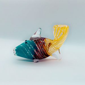 Teal and Yellow Glass Bowl